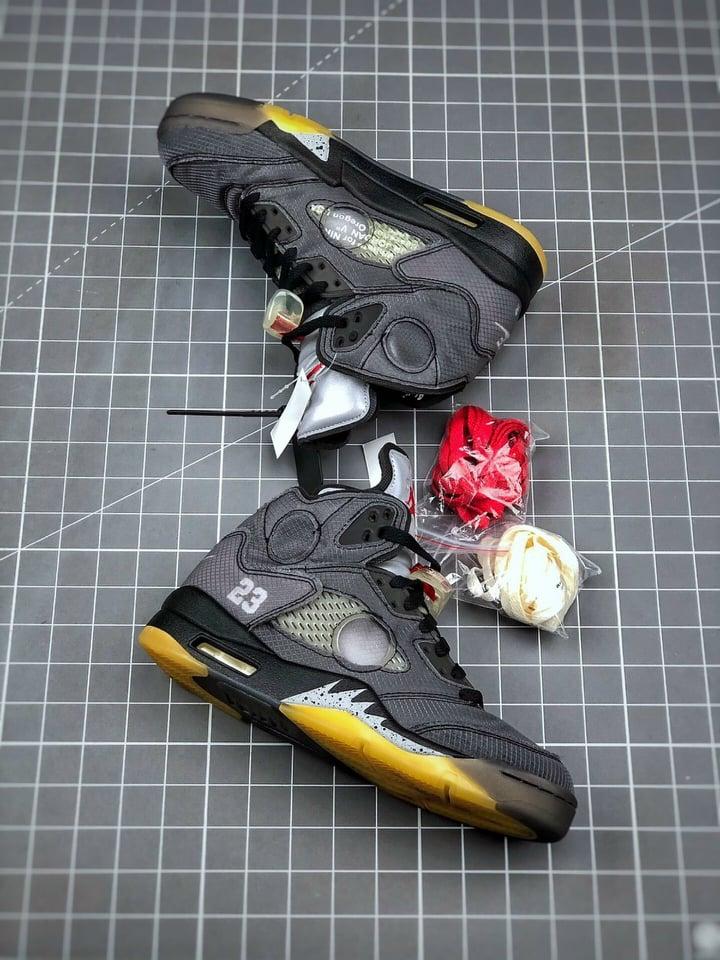 """Off-White™ x Air Jordan Retro 5""""Black/Muslin-Fire Red"""" AJ5"""